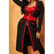 Lovely Chic Patchwork Black Cardigan(Without Belt)