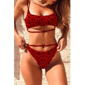 Lovely Print Red Two-piece Swimsuit