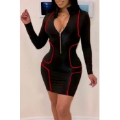 Lovely Casual Zipper Design Black Mini Dress