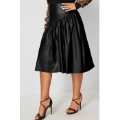 Lovely Casual Ruffle Design Black Plus Size Skirt