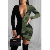 Lovely Chic V Neck Camo Army Green Mini Dress