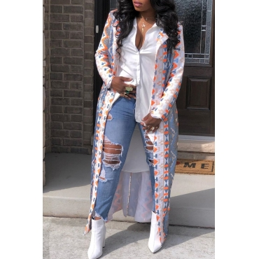Lovely Casual Printed Multicolor Trench Coat