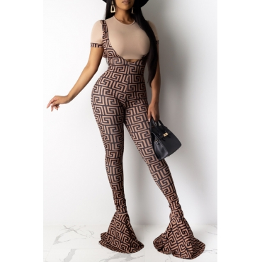 Lovely Casual Print Backless Khaki One-piece Jumpsuit(Without T-shirt)