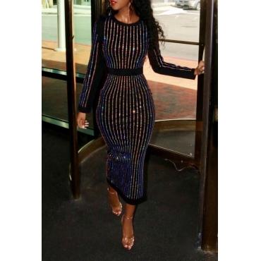 Lovely Chic Striped Black Mid Calf Dress