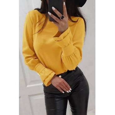 Lovely Casual O Neck Basic Yellow  Blouse