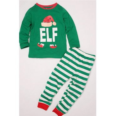 Lovely Family Striped Green Kids Two-piece Pants Set