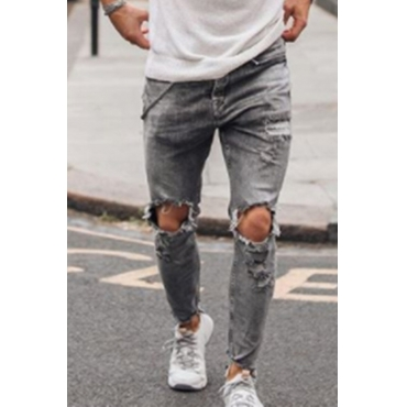 Lovely Casual Hollow-out Grey Jeans