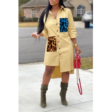 Lovely Casual Print Buttons Leopard Mid Calf Dress