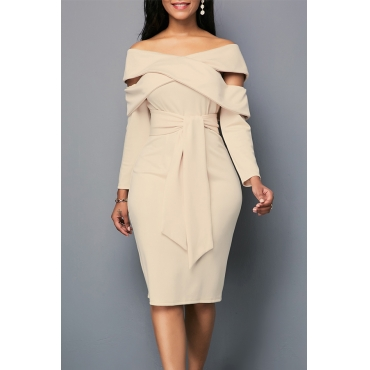 Lovely Leisure Hollow-out Khaki Knee Length Dress