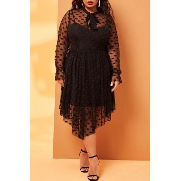 Lovely Sweet O Neck Dot Black Mid Calf Plus Size Dress