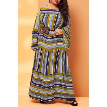 Lovely Trendy O Neck Striped Multicolor Ankle Length Plus Size Dress