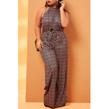 Lovely Casual Geometric Deep Camel Plus Size One-piece Jumpsuit