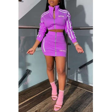 Lovely Casual Letter Zipper Design Purple Two-piece Skirt Set