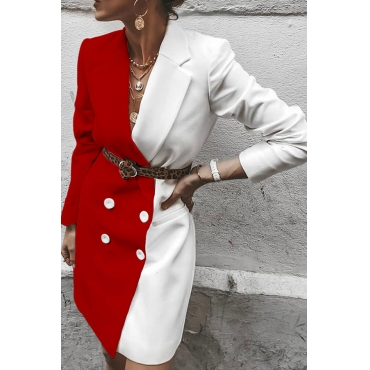 Lovely Casual Basic Patchwork Red Blazer