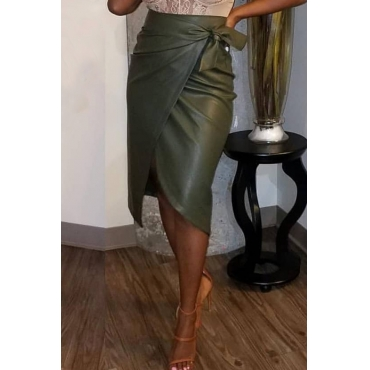 Lovely Casual Asymmetrical Blackish Green PU Knee Length Skirt