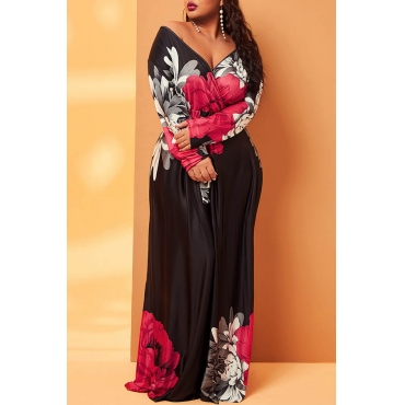 Lovely Casual V Neck Floral Print Black Plus Size Maxi Dress