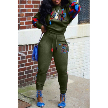 Lovely Casual Lip  Print Army Green Two-piece Pants Set