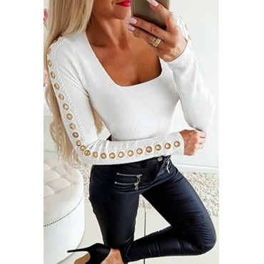 Lovely Casual Patchwork Basic White T-shirt