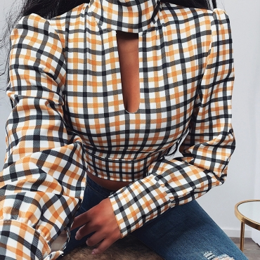 Lovely Casual Turtleneck Plaid Yellow Blouse