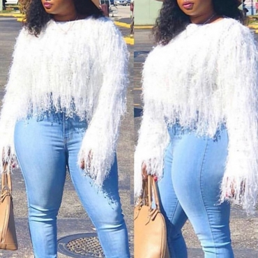 Lovely Chic Tassel Design White Sweater