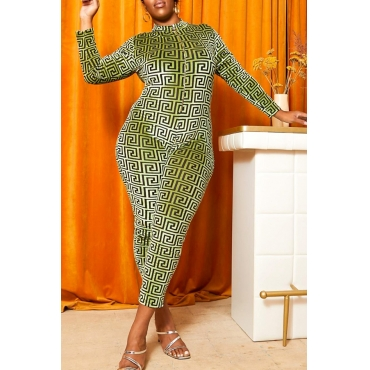 Lovely Casual Letter Print Green Plus Size One-piece Jumpsuit