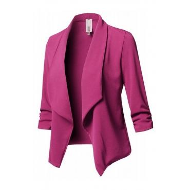 Lovely Work Turn-back Collar Rose Red Blazer