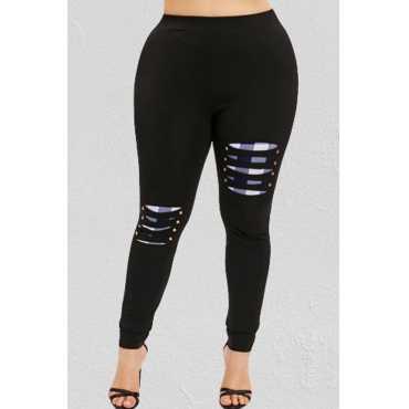 Lovely Casual Patchwork Black Plus Size Pant
