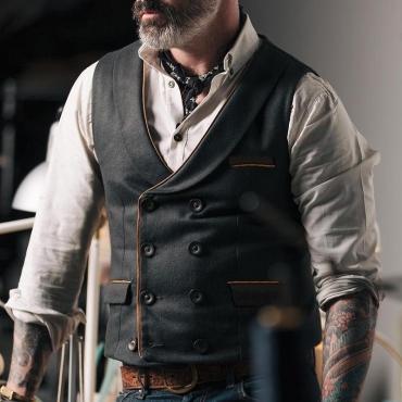Lovely Casual Buttons Design Black Vest