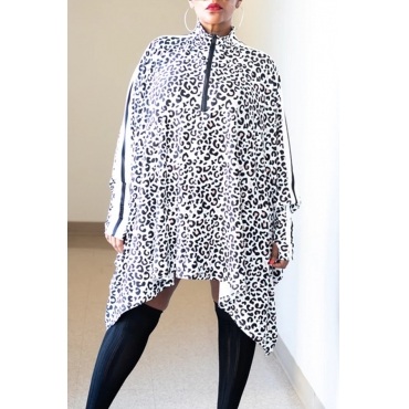 Lovely Casual Leopard White Mid Calf Dress