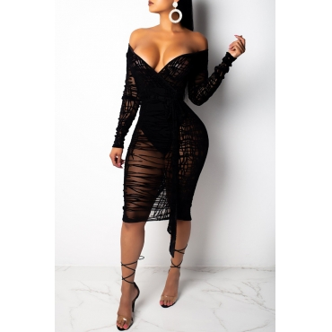 Lovely Trendy See-through Black Knee Length Dress