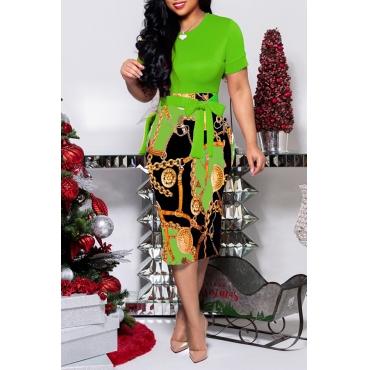 Lovely Trendy O Neck Print Green Knee Length Dress