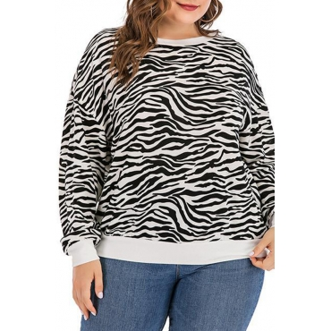 Lovely Casual Striped Black Plus Size Hoodie