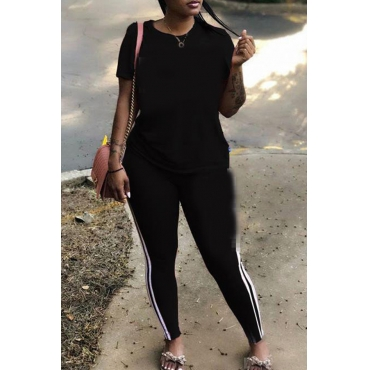 Lovely Casual Striped Black Plus Size Two-piece Pants Set