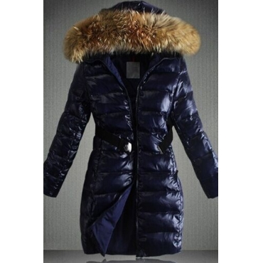 Lovely Casual Hooded Collar Royal Blue Coat