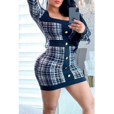 Lovely Chic Plaid Print Black And White Mini Dress