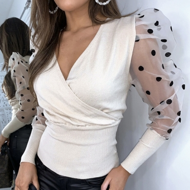 Lovely Casual See-through White Blouse