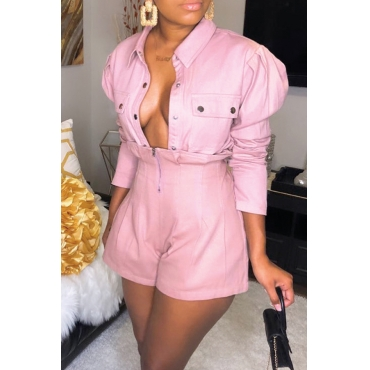 Lovely Casual Turndown Collar Buttons Design Pink Two-piece Shorts Set