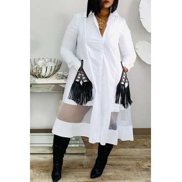 Lovely Casual Tassel Design White Mid Calf Dress
