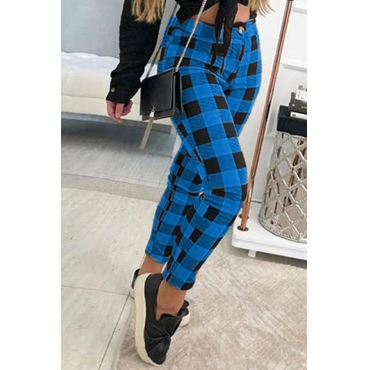 Lovely Casual Plaid Print Blue Pants