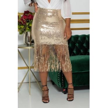 Lovely Chic Tassel Design Gold Skirt