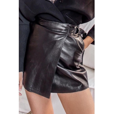 Lovely Sexy Asymmetrical Black PU Mini Skirt