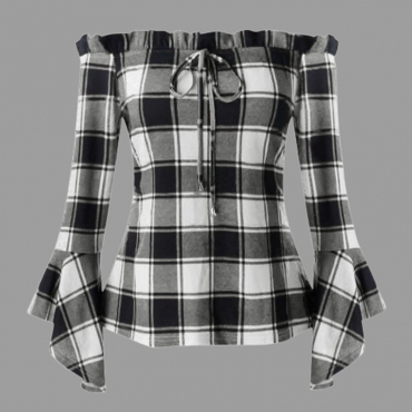 Lovely Casual Plaid Print White Plus Size Blouse