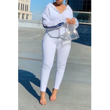 Lovely Casual Striped White Two-piece Pants Set