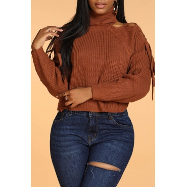 Lovely Casual Turtleneck Deep Camel Sweater