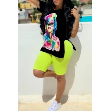 Lovely Casual O Neck Printed Black Two-piece Shorts Set