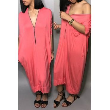 Lovely Casual V Neck Zipper Design Pink Mid Calf Dress
