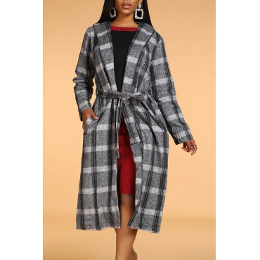 Lovely Casual Plaid Print Grey Coat