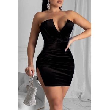 Lovely Party Dew Shoulder Skinny Black Mini Dress