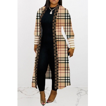 Lovely Trendy Striped Long Coat