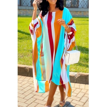 Lovely Casual Striped MulticolorAnkle Length Dress